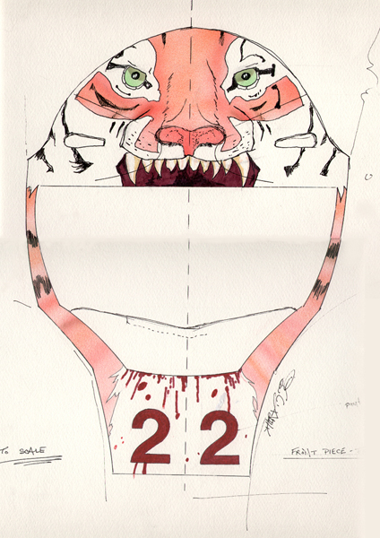 """Catcher Mask 1"" Front View Design 1999 by Derek Herd"