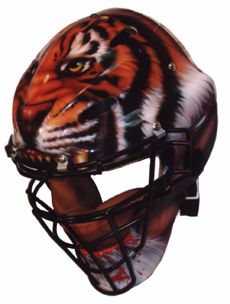 """Catcher Mask 1"" Side View 1999 by Derek Herd"