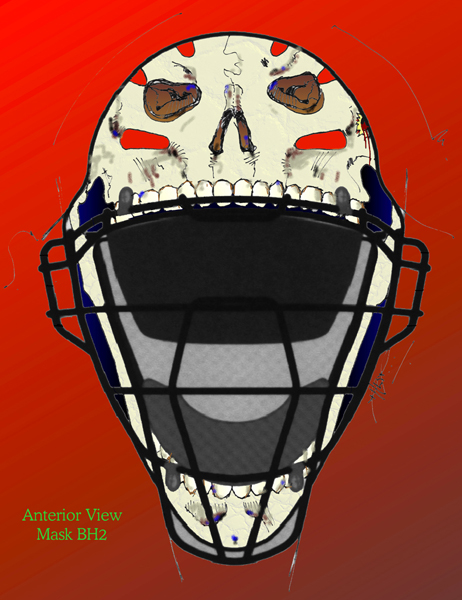 """Catcher Mask 2"" Front View Design 2000 by Draake Herd"