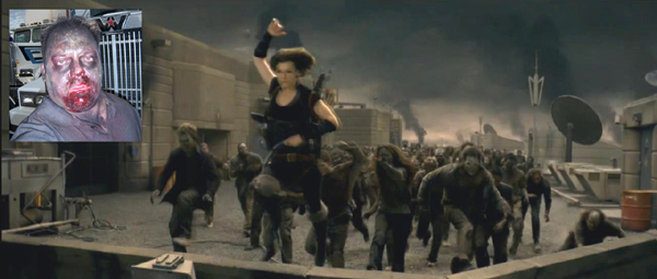 """Resident Evil Afterlife"" (c) 2010 Constantin Film. ""I am about five zombie heads to the right of Mila. This was a brutal - but fun - sequence to film."""