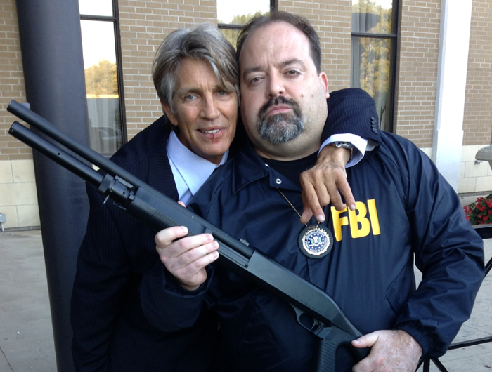 "The talented Eric Roberts and Derek Herd on the set of ""No Deposit"" shooting in Hamilton, Ontario."